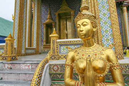 king palace: View of the gold sculpture in the Royal King Palace in Bangkok  Thailand