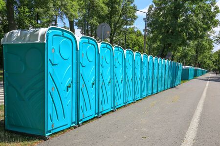 loo: View of the portable public toilets