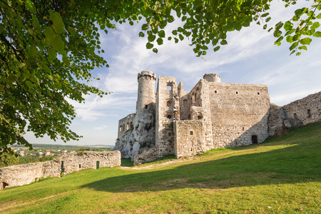 Scenic view of the castle ruins in Ogrodzieniec village. poland Stock Photo