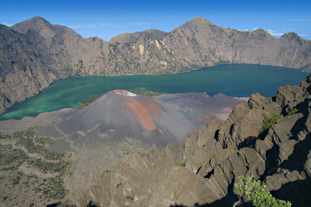 Rinjani volcano in Indonesia - Landscape Stock Photo