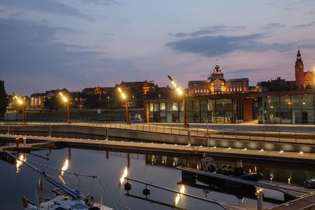 Szczecin by night  Poland Stock Photo