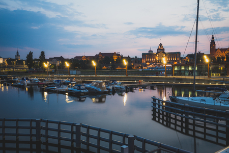 View of the Szczecin  night view, vintage