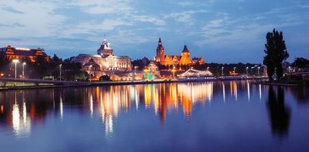 View of the Szczecin  night panorama Stock Photo