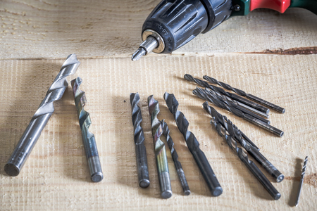 implementing: View of the drill bits Stock Photo