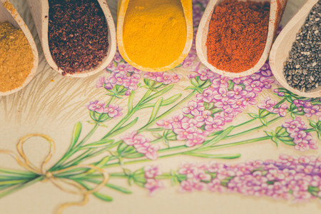 Various spices with the place for text