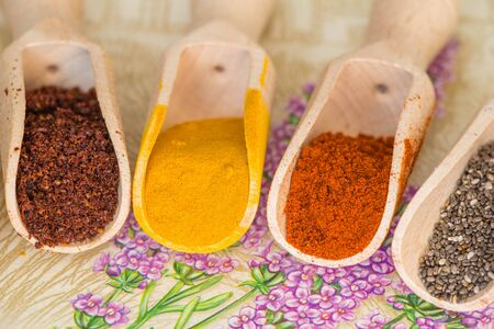 Various spices on the table