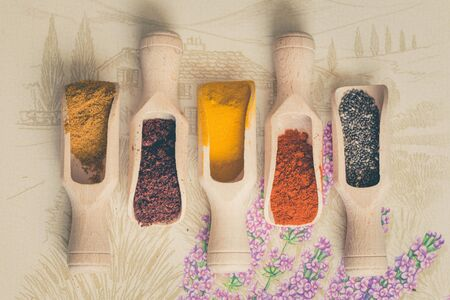 Various spices for the cooking Stock Photo