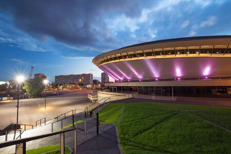 Evening view in Katowice, Poland, International Conference Center