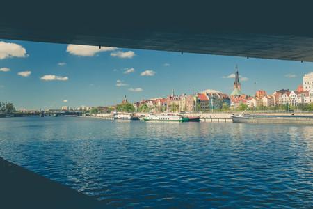 Szczecin  Panorama of the city, vintage effect