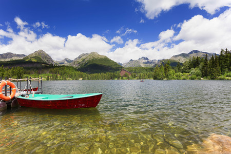 Panorama of mountain lake Strbske Pleso in the Tatra mountains. Summer colors and boat for swimming