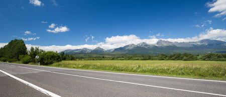 A view of the Tatra mountains from the motorway