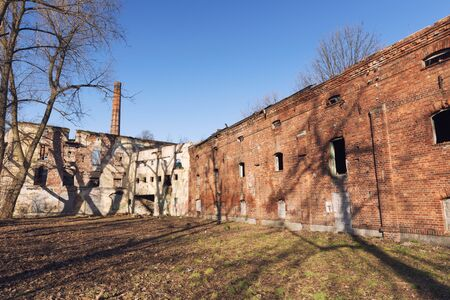 old abandoned factory, ruins
