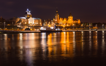 Szczecin by night  waterfront view of the historical center