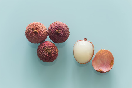 Lychee  Healthy and juicy fruits on the glass table