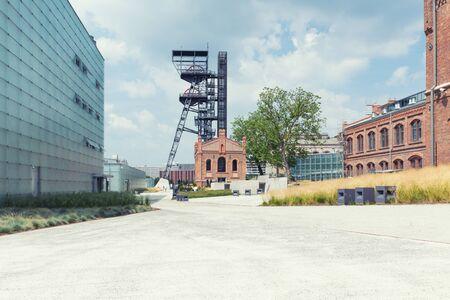 Katowice in Poland , Industrial landscape the old mine shaft Zdjęcie Seryjne