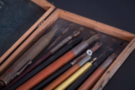 Old school, drafting and drawing accessories / vintage Stock Photo - 98150892