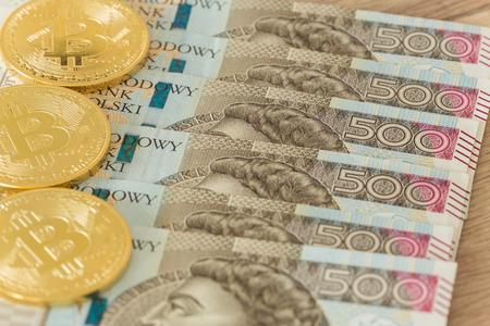 Polish Money and bitcoin Stok Fotoğraf