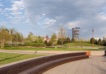 Katowice in Poland  Industrial landscape of the old mine shaft Zdjęcie Seryjne