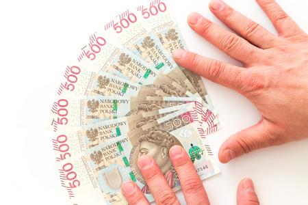 Polish money, the highest denomination  white background