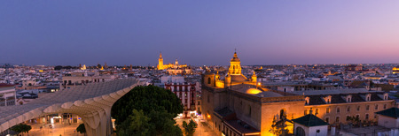 Seville at night, Spain  Panoramic top view of the historical part of the city Stok Fotoğraf