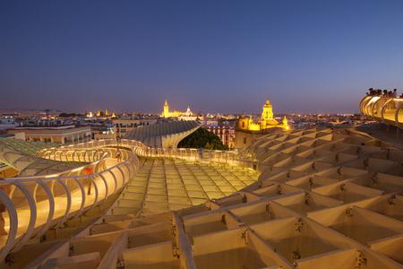 Seville, sunset view, Modern architecture Metropol Parasol (Setas de Sevilla)