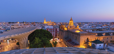 Seville, Spain. Panorama of the city after sunset, view from above 版權商用圖片