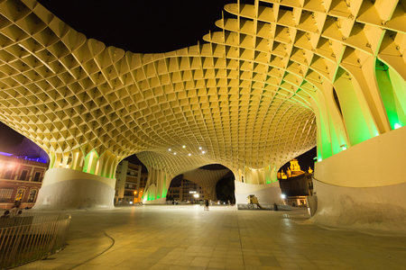 Seville at night, Modern architecture be design Jürgen Mayer, Metropol Parasol (Setas de Sevilla) june 2018 Editöryel