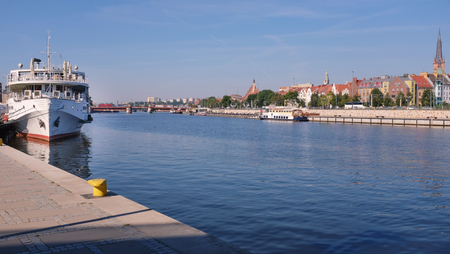 Szczecin, Port city. Waterfront view of the old city
