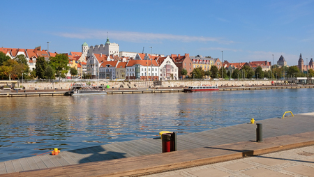 Szczecin, Port town, Waterfront view of the old center Reklamní fotografie