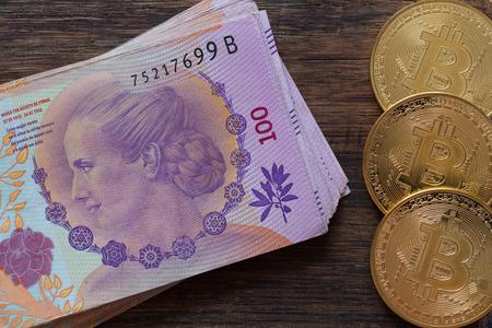 Argentine money, pesos, high denominations Archivio Fotografico