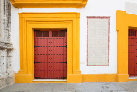 Seville in Spain. Traditional colors of the city, white and yellow architecture