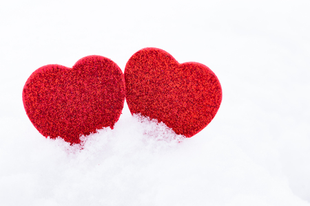 Valentine's Day. Hearts in the snow
