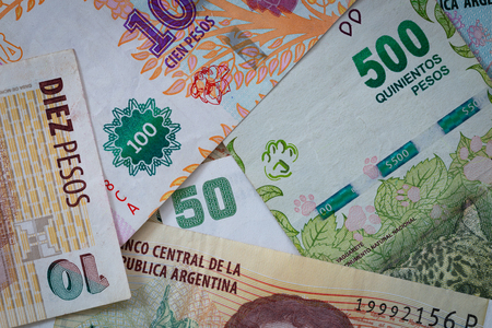 Argentine money, pesos, high denominations Stock Photo - 115737148