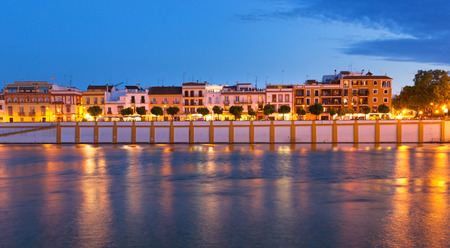 Seville, Spain, Night view of the fashionable and historic districts of Triana