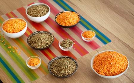 Lentil. different variations on the kitchen table