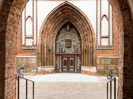 historic door of the church of St. Nicholas in Stralsund on the island of Rugen. germany