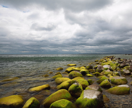Sea landscape, Horizon and pictresquelu green boulders