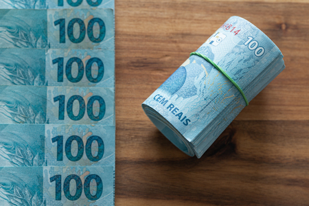 Brazilian money, denominations of 100 reais Stockfoto