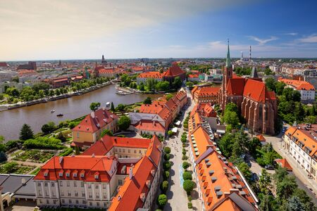 Wroclaw. City panorama, View of the oldest part of the town Фото со стока