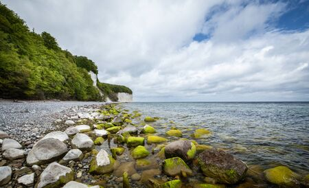 Coast of the Baltic Sea. Steep cliffs and beach on the island of Rugen in Germany