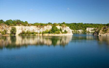 Zakrzowek Lake. Landscape, Former excavations flooded with water near Krakow 版權商用圖片