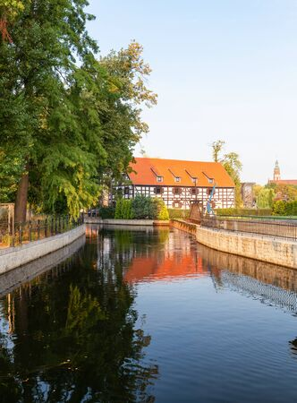 Bydgoszcz. Lock on the Brda River and historic architecture of the citys waterfront