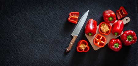 Red pepper Healthy vegetables, whole and cut. Place for text