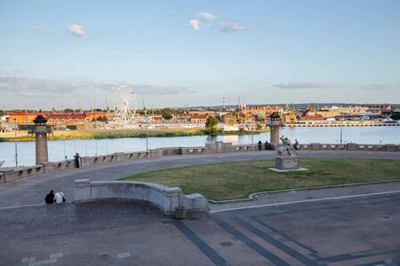 Szczecin. Panoramic view on Chrobry embankment and waterfront Zdjęcie Seryjne
