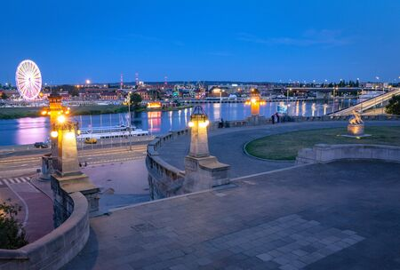 Szczecin by night. View of the Haken terracess, view of the Odra river Zdjęcie Seryjne