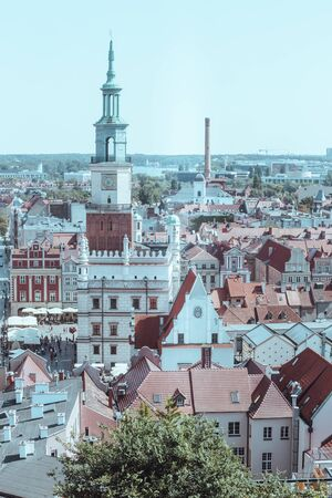 Poznan. Panorama of the old part of the city with the market square and town hall Zdjęcie Seryjne