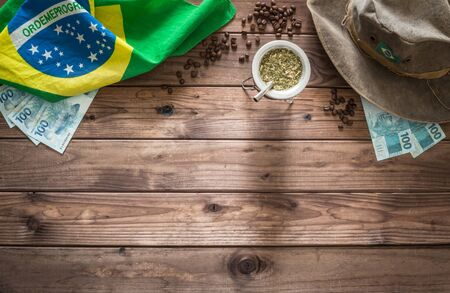 Objects are associated with Brazilian on boards with space for an inscription Stok Fotoğraf