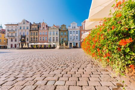 Poznan in Poland. The old town, The main square with Renaissance tenement houses 스톡 콘텐츠