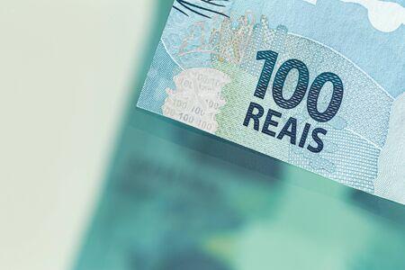 Brazilian money, High denomination banknotes 100 reais Reklamní fotografie