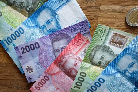 Money. Chilean pesos, Banknotes of various denominations Archivio Fotografico